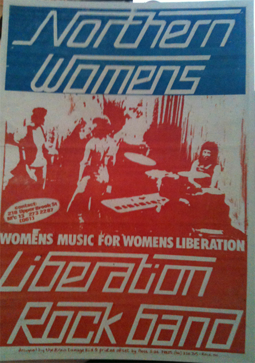 Northern Women's Liberation Rock Band poster from Feminist Archive South